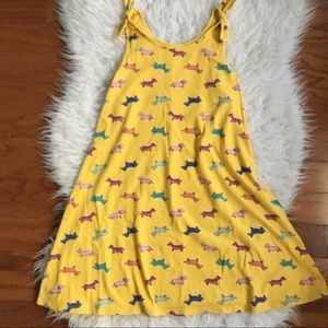 Cute Dog Print Yellow Dress 10/12